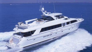 Spacious100' Hatteras yacht at Palm Beach Boat Show